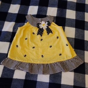 Rare Too checkered toddler dress little bees 2T